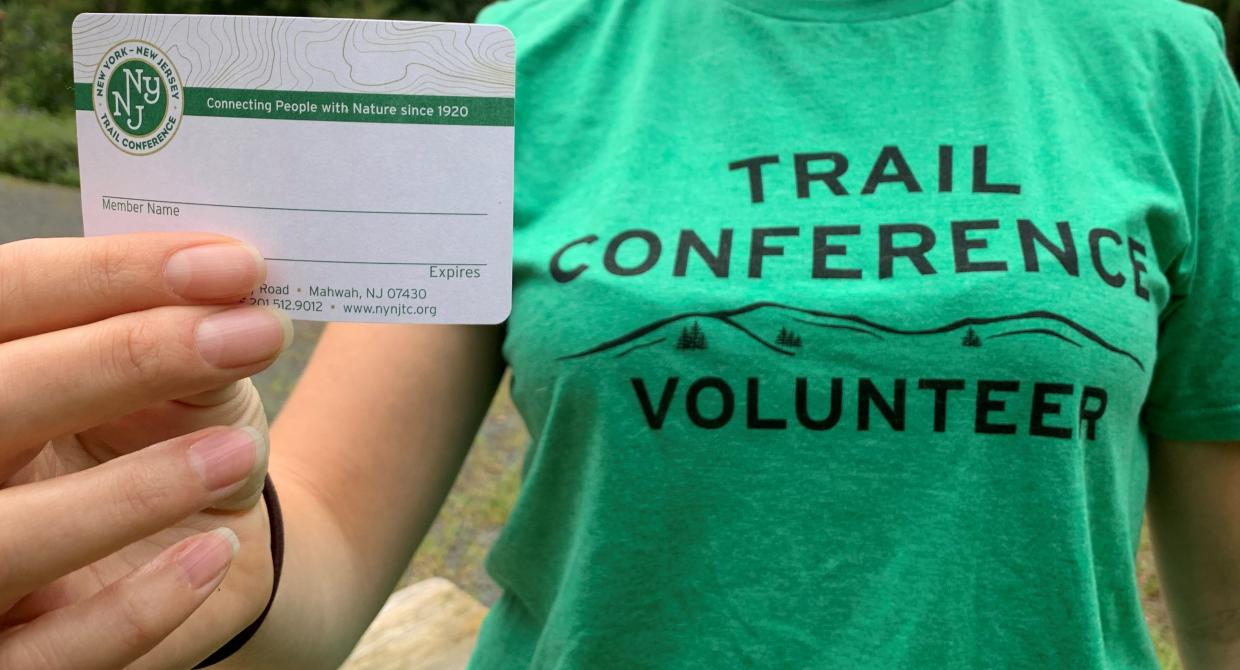 Trail Conference membership card and volunteer T-Shirt. Photo by Heather Darley.