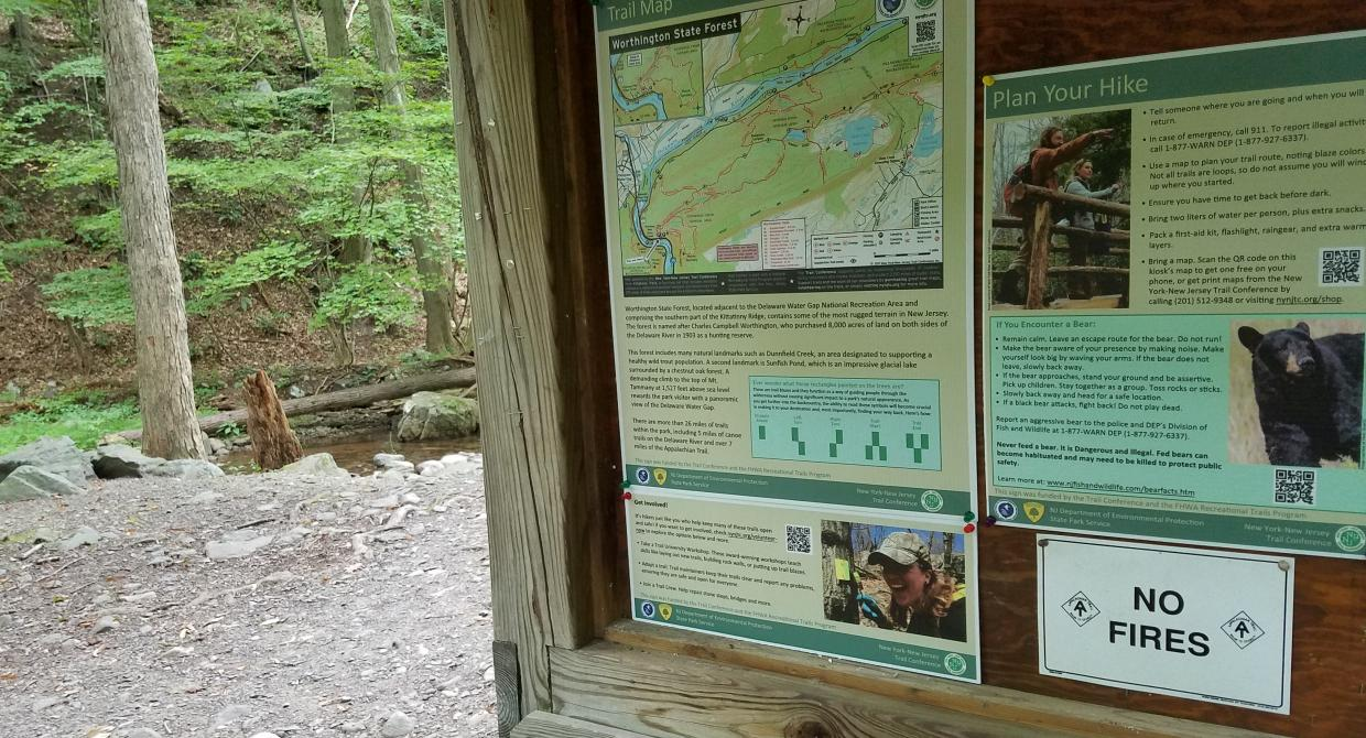 Trailhead kiosk signs at Worthington State Forest.