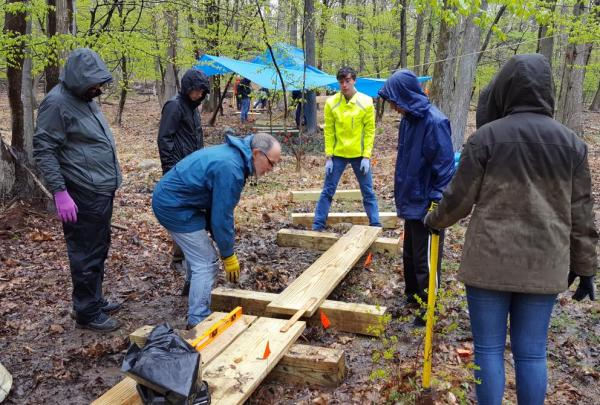 Volunteers building the South Mountain Connector Trail on the Lenape Trail. Photo by Dennis Percher.