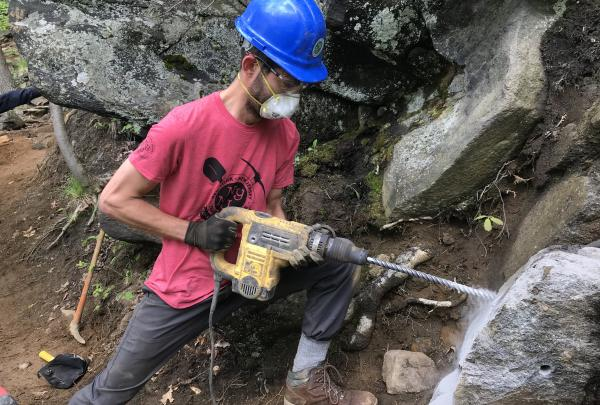 2018 Taconic Trail Crew works on Breakneck Ridge's Undercliff Trail. Photo by Joshua DelRio.