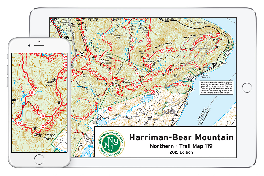 Trail Conference Maps on an iPad and iPhone